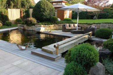 如何设计庭院锦鲤鱼池建造效果图图片
